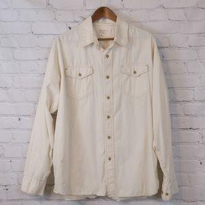 Wrangler Cream Long-Sleeve Button-Down Shirt